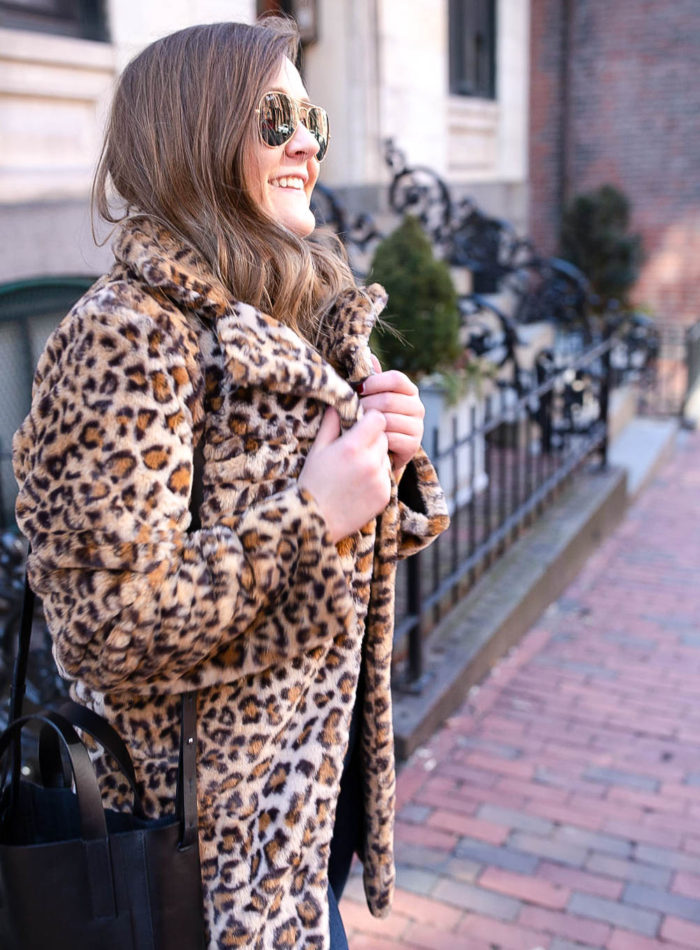 I AM GIA faux fur leopard coat