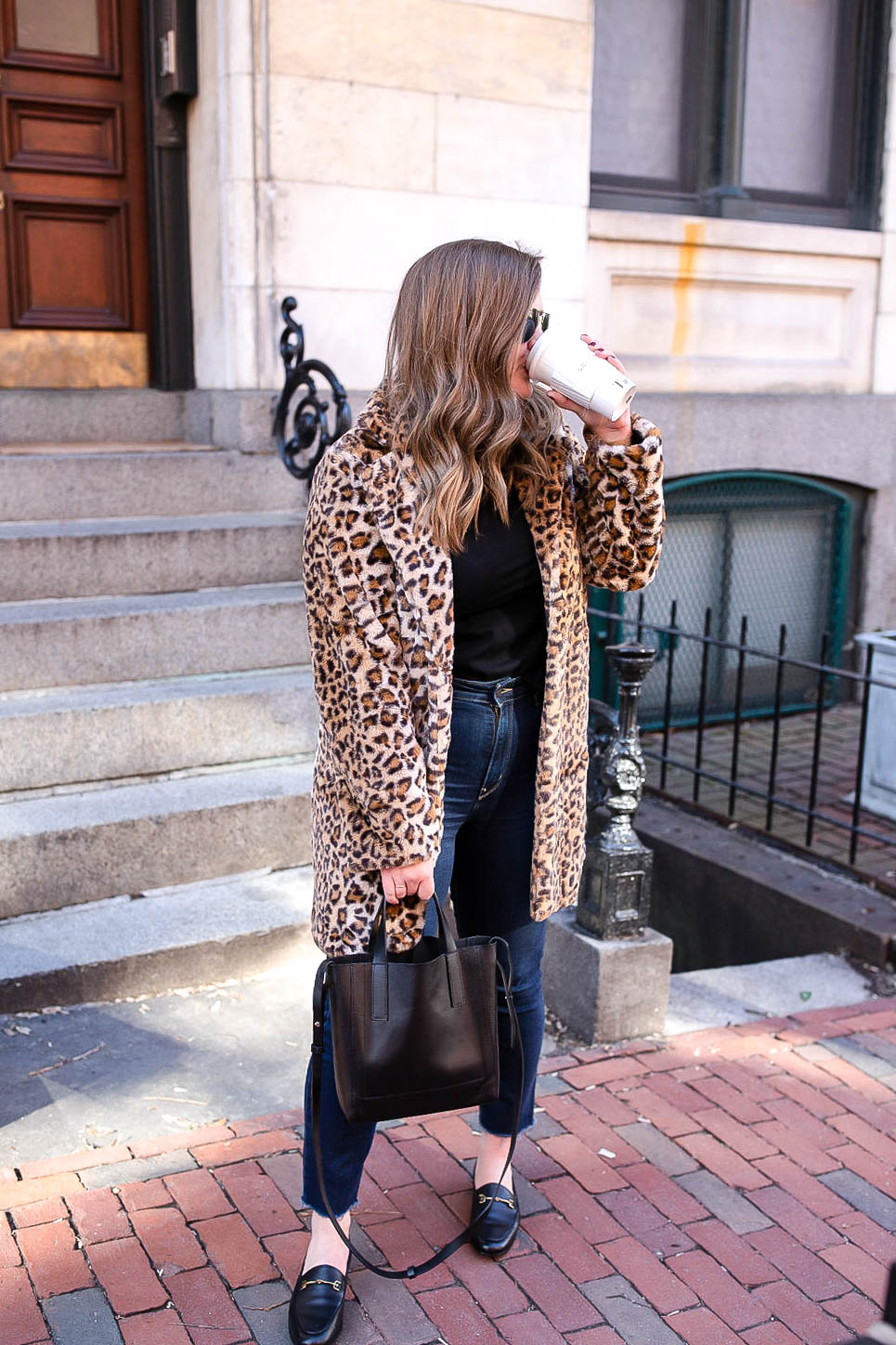 how to style a faux fur leopard coat