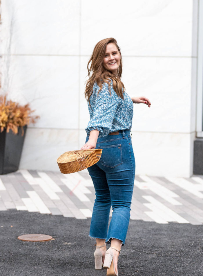 floral top and wide leg jeans