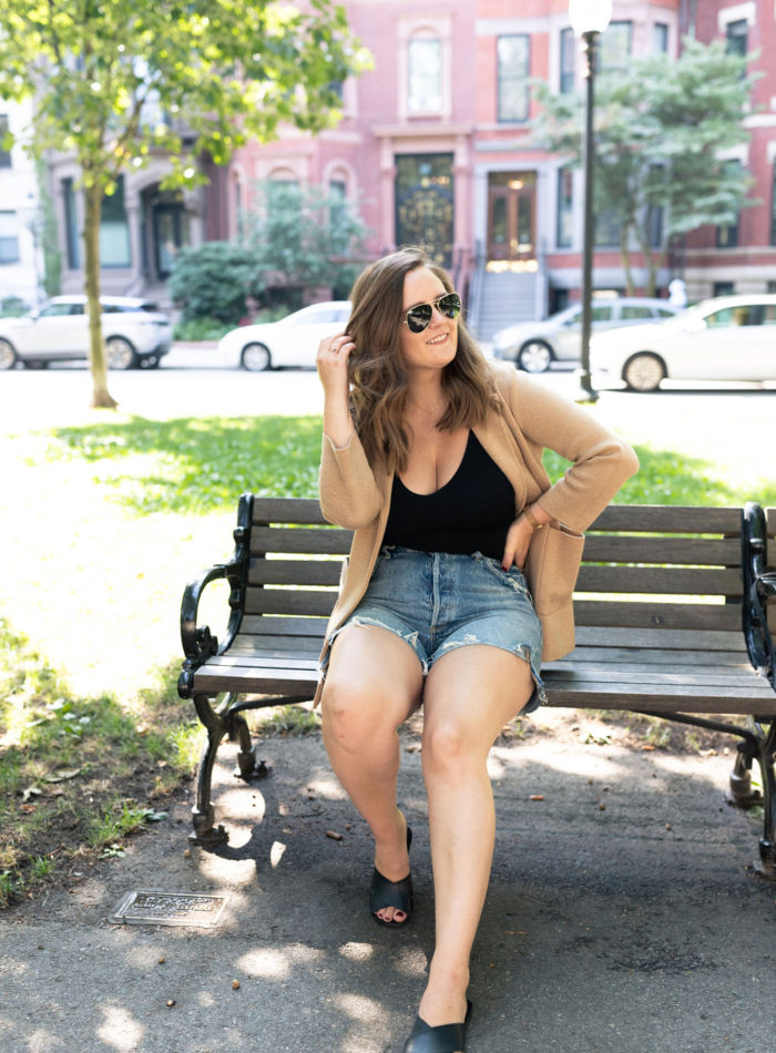high waisted shorts styled for fall